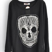 Round Neck Skull Sweater Black  S004577