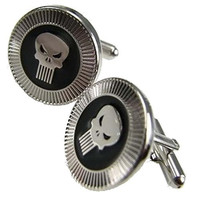"Basket Hill ,Marvel Comics "" Punisher"" Wedding Silver and Black Tone Cufflinks"