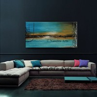 """TURQUOISE ABSTRACT PAINTING 48"""" Landscape Artwork, Calming Oil painting Warm and Cold Colors Original Hand Made original artwork - Nandita"""