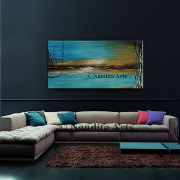 "TURQUOISE ABSTRACT PAINTING 48"" Landscape Artwork, Calming Oil painting Warm and Cold Colors Original Hand Made original artwork - Nandita"