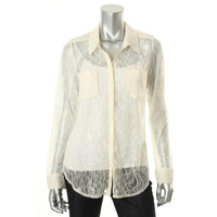 Guess Womens Channing Lace Two Pockets Button-Down Shirt