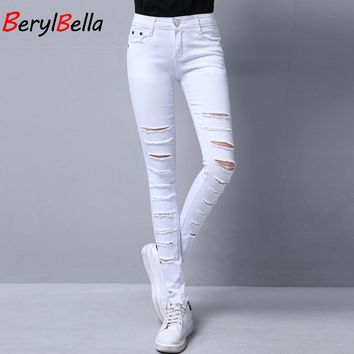 BerylBella Summer Jeans For Women Pants Large Size 2017 High Waist Cotton White Ripped Elastic Pencil Pants Women Trousers 25-32