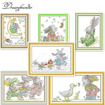 The lovely rabbits (3) cross stitch kits cartoon 14ct 11ct embroidery patterns sewing kit DIY handmade needlework decor plus