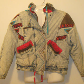Vintage 1980s Acid Wash Denim Jacket with Multicolored Tribal Patch Work Design - Size Medium