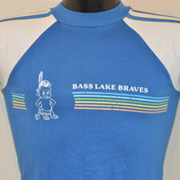 80s Bass Lake Braves Summer Camp Blue and White Rainbow Stripe Raglan Sleeve Jersey Ringer t-shirt Youth Large