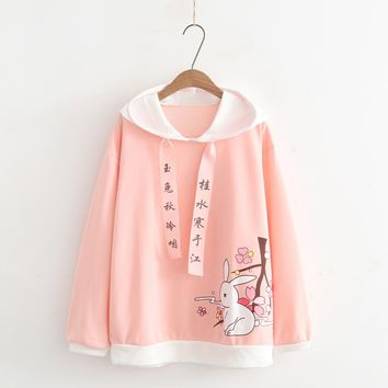 Japanese Femalel Cute anime Graphic Pink Hoodies Pullover Mori Girl Kawaii Bunny Cartoon Words Moletom Kpop Hooded Sweatshirts