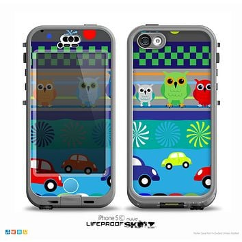 The Cartoon Colored Vector Owls with Cars Skin for the iPhone 5c nüüd LifeProof Case