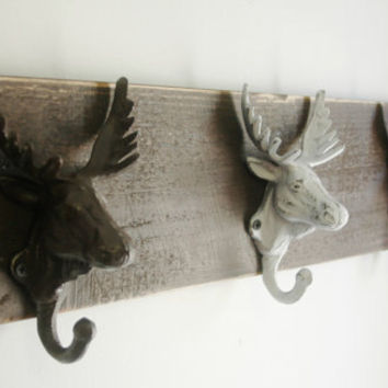 Moose Head trio wall decor for hanging light jackets scarves or jewelry great kitchen decor bedroom decor entryway decor