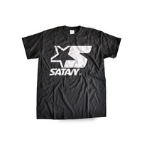 SATANIC ALL STAR logo club kid rave grunge goth satan 90s t-shirt