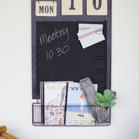 Wall Chalkboard Calender with Wire Basket