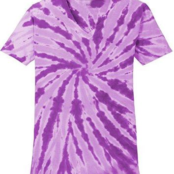 Koloa Surf(TM) Ladies colorful Tie-Dye V-Neck T-Shirt-Purple-XS