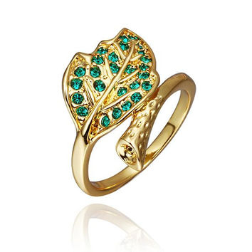 Gold Plated Emerald Twisted Leaf Branch Ring