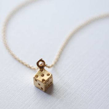 Tiny Dice Necklace- Gold Dice Pendant, Dice Charm, Minimalist Necklace HeirloomEnvy