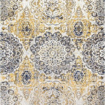9347 Gold Medallion Distressed Oriental Area Rugs