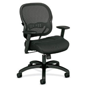 basyx by HON VL700 Series Mid-Back Chair with Adjustable Arms for Office or Computer Desk, Black