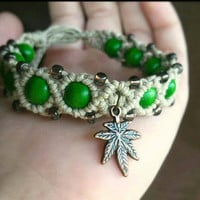 Pot Leaf Hemp Bracelet Legalize Marijuana Bracelet Stoner Hemp Jewelry Beaded Hemp Bracelet