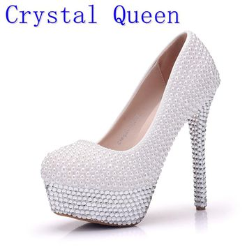 Crystal Queen Women Pumps Silver Rhinestone Wedding Shoes Ultra High Heels Woman Crystal Platform Party Shoes Plus Size 41