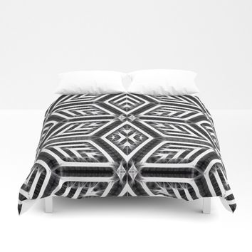 Surreal Diamond Stars Pattern, black and white tiled theme, energetic, electrified geometric design Duvet Cover by hmdesignspl