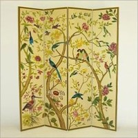 "64""W x 72""H Wood 4-Panel Room Divider - Multi - Colored Birds in Trees- Wayborn-For the Home-Accent-Screens"