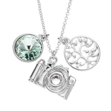 Charming Inspirations Crystal Silver-Plated Camera & Tree of Life Pendant Necklace - Made with Swarovski Elements (Green)