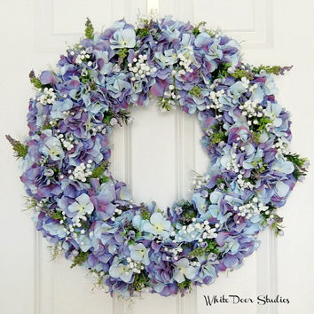 Spring Hydrangea Wreath, Front Door Wreath, Lavender, Blue, Purple, Indoor Wreath, Wedding Wreath, Summer Wreath