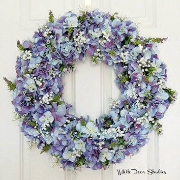 Spring Hydrangea Wreath, Front Door Wreath, Lavender, Blue, Purple, Indoor  Wreath