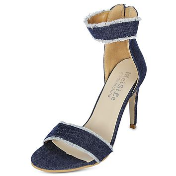 Pointed Toe Ankle Strap High Heel Denim Zipper Women Sandals