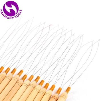 HARMONY 50 Pieces Stainless Steel Wire Wooden Handle Pulling Loop Threader Micro Ring Beads Hair Extensions Tools