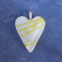 Heart Pendant, Yellow and White Heart, Couples Jewelry - My Darling - 4520 -1