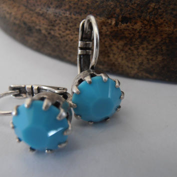 Turquoise, 8mm, Swarovski crystal, Antique Silver, Crown prong setting, Dangle, Drop, leverback earrings, costume jewelry