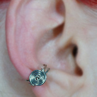Spiral Button Ear Cuff Silver by ShutUpAndCuffMe on Etsy