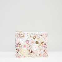 ASOS Metallic Floral And Bead Clutch Bag