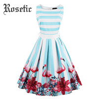 Rosetic Women Vintage Dress Floral Flamingo Print Summer Pin Up Dresses A-Line Light Blue O-Neck Sleeveless Fashion Retro Dress