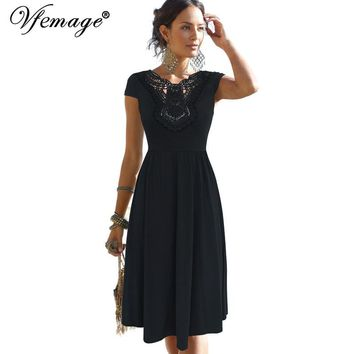 Vfemage Womens Elegant Applique Embroidery Crochet Lace V-back Pleats Tunic Vintage Casual Party Swing Skater A-Line Dress 6836