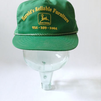 John Deere Hat - Retro Green Yellow Snapback Cap - Furniture Company - Adjustable Adult - Farm Farmer Farming - Rope Bill 1980s Retro