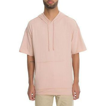 Raw Boxy Short Sleeve Hoodie (Pink)