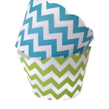 Set of 12 Aqua and Lime Chevron Cupcake Wrappers - Bridal Showers, Summer Parties, Under the Sea Chevron Wrappers