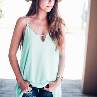 Triangle Cut Out Tank - Mint