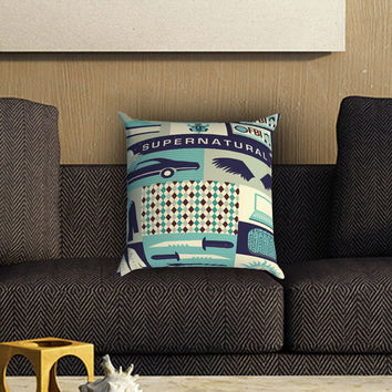 Supernatural Collage Art Pillow Cover , Custom Zippered Pillow Case One Side Two SIde