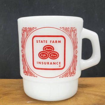 Vintage State Farm Milk Glass Mug Insurance Anchor Hocking Advertising Coffee Cups Agent Gifts Like Kitchen Decor A Good Neighbor