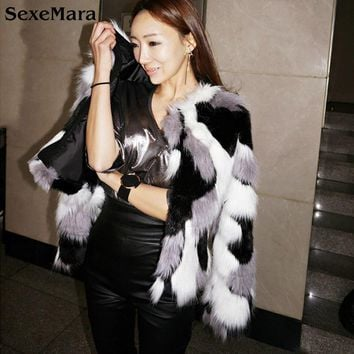 SexeMara 2017 Winter Women Warm Faux Fur Coats Oversized S-5XL Artificial Mink Fox Simple Fashion Camouflage Jackets