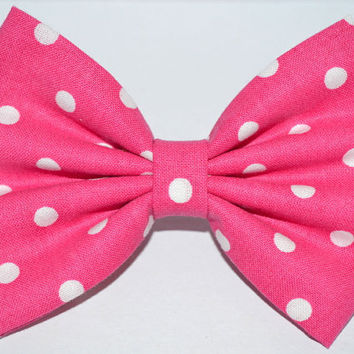 Bright Pink Polka Dot Hair Bow