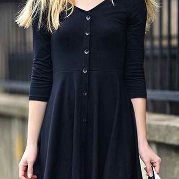 Black Long Sleeve Buttoned Skater Dress