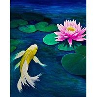 Koi Fish with Pink Water Lily Painting Wall Mural. #6000
