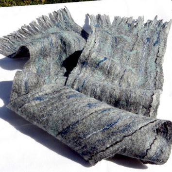 Man Scarf, Felted Scarf, Blue Grey,  Man Fashion, Gift for Him, Neck Warmer, Handmade, Lovely, Unique, Best of Etsy, Fathers Day, Best Dad