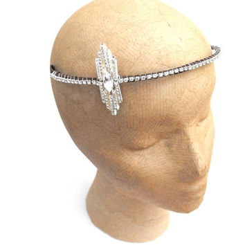 Great Gatsby Flapper style 1920's Silver Empire Headdress