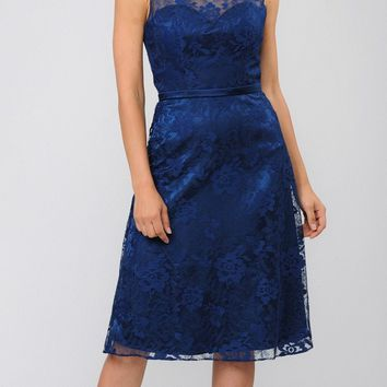 Knee-Length Formal Dress with Bolero Jacket Navy Blue
