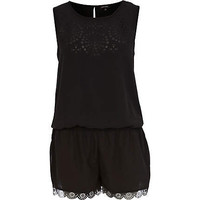 Black laser cut playsuit