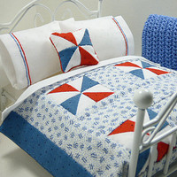 Dollhouse Miniature Patriotic Red White Blue Doll Accessory Patchwork Bed Quilt Inch Scale Bedspread Americana 4th of July Independence Day