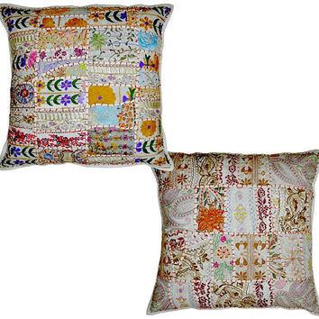 2pc White Decorative Vintage Pillow, White Throw Pillow, Accent PIllow, Ethnic Indian Floor Pillow, Toss Pillow, Outdoor Pillow, Sofa Pillow